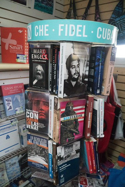 Communist books at a rest stop on the Autopista national highway, Cuba