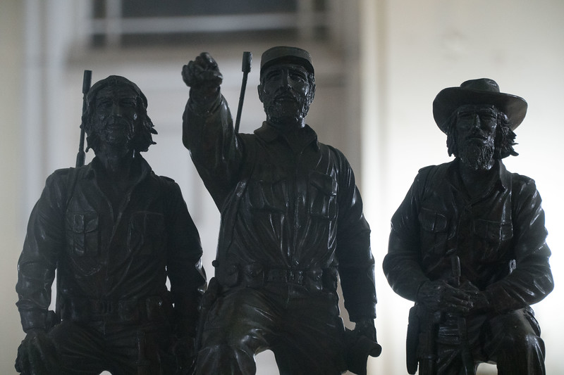 Statue of Castro, Che and Cienfuegos in the Museum of the Revolution, Havana