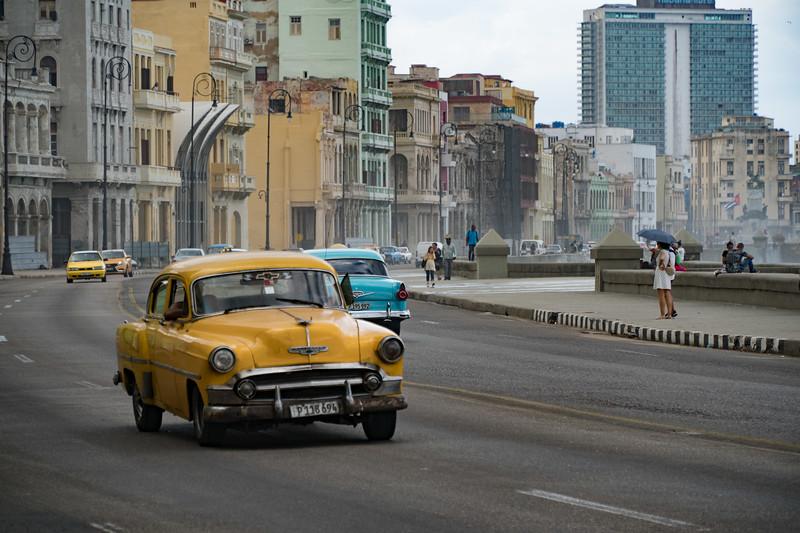 Classic car taxi along the Malecon, Havana