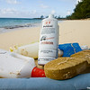 Beach with plastic litter in the Bahamas