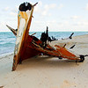 Burned out boat on beach takes on the form of a shark
