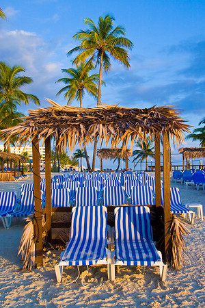 Beach chairs at the Cable Beach Hotel in Nassau, Bahama