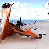 Shipwreck on beach in the Bahamas