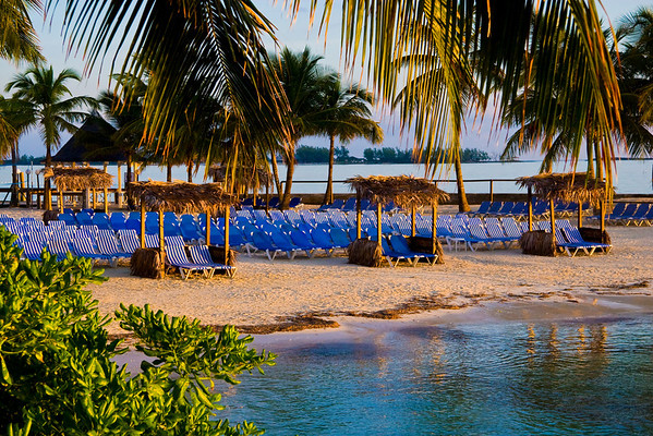 Beach chairs on the Wyndham Cable Beach hotel in Nassau, Bahama
