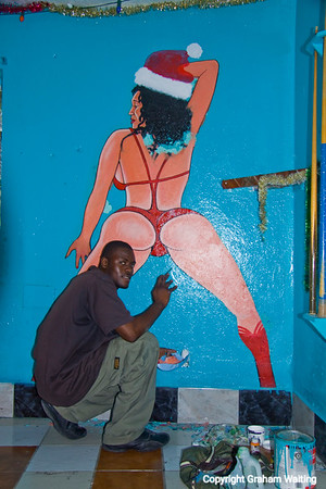 Mural being painted at local bar on Cat Island, Bahama