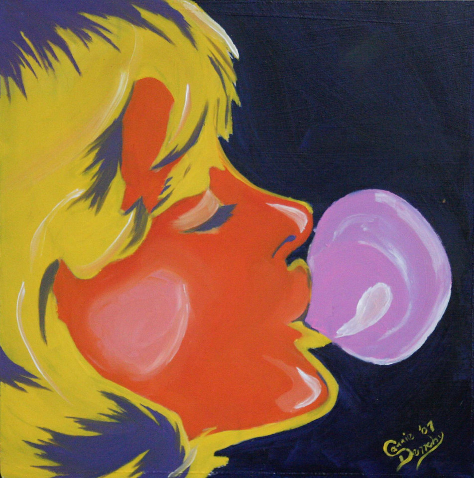04/2007  I had never considered myself a big fan of pop art, because I tend to think of Warhol and his use of mass-production type processes that, to me, pull away from the connection of art that comes in hand to brush work.<br /> Painting this however, showed me that my love for bold and blocked color fits rather well into the realm of pop art.