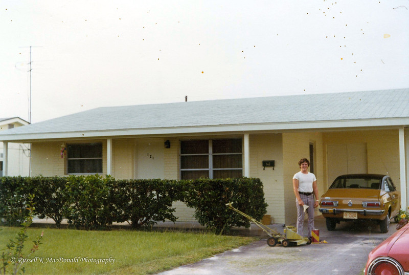 1971, new house at 121 42nd Ave North, St. Petersburg, FL, and new 1971 Datsun 1200, and corner of 1964 Ford Fairlane