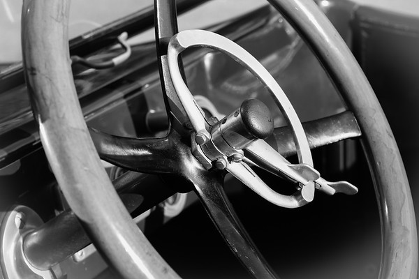 steering wheel of a old car