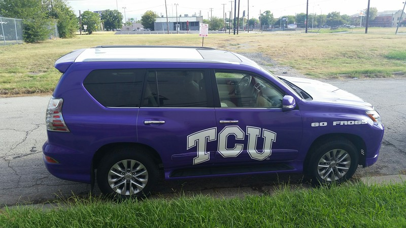 TCU Horned Frogs Wraps For Sewell Infiniti And Sewell Lexus, Dallas, TX