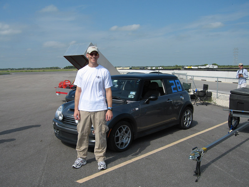 John with his #28 MINI & his official photographer in the background.