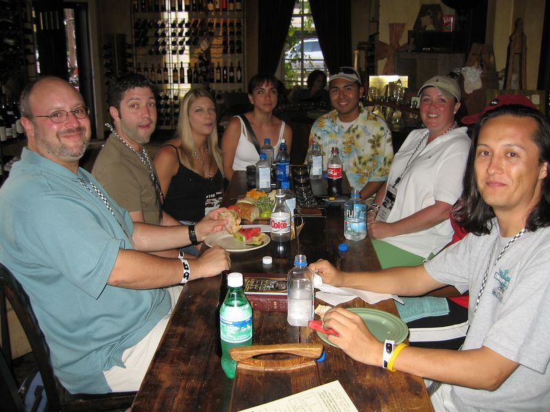 Joel, Brian, Michelle, Will's wife (need name), Will (drive's Dr. Evil) from San Antonio, Patty, & Bob having a bite to eat before the bat cave trip.