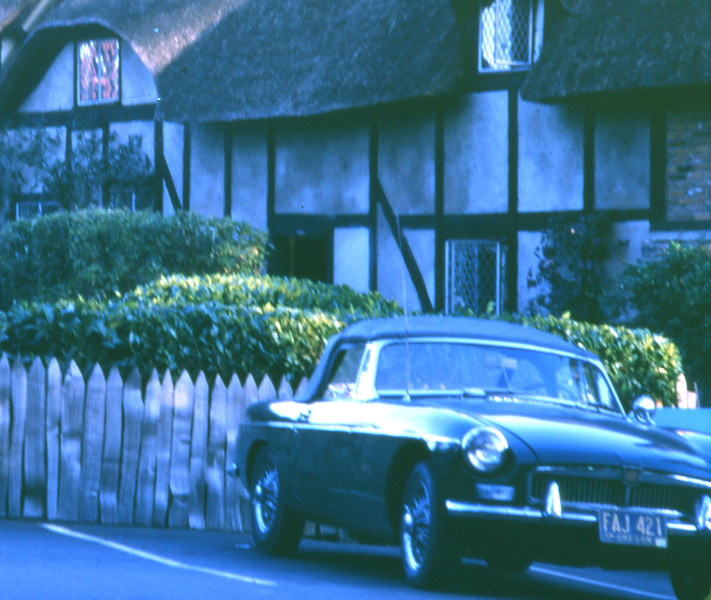 MGB at Ann Hathaway's cottage. Victoria
