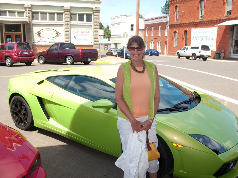 Barb thinks the Lambo color matches her outfit....
