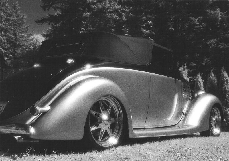 1936 Ford Cabriolet at North End Performance in Anacortes, Kodak 35 mm HIE film