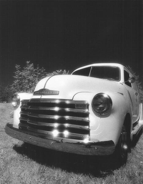 Chevy van at North End Performance in Anacortes, Kodak 35 mm HIE film.