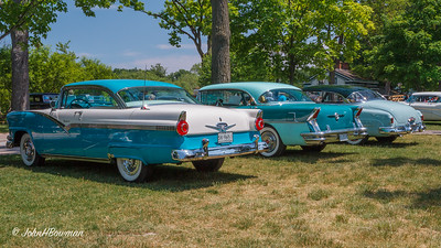 1956 Ford Fairlane Victoria hardtop, 2011 Greenfield Village Motor Muster; in background, 1956 Buick Century 4-dr Riviera, 1950 Buick Super Riviera, & 1955 Buick Super Riviera
