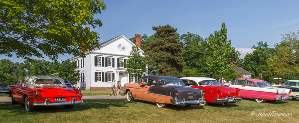 1955 cars - Ford Thunderbird, Chevrolet Bel Air, Oldsmobile, Ford Crown Victoria, Pontiac - opposite Noah Webster house, 2011 Greenfield Village Motor Muster
