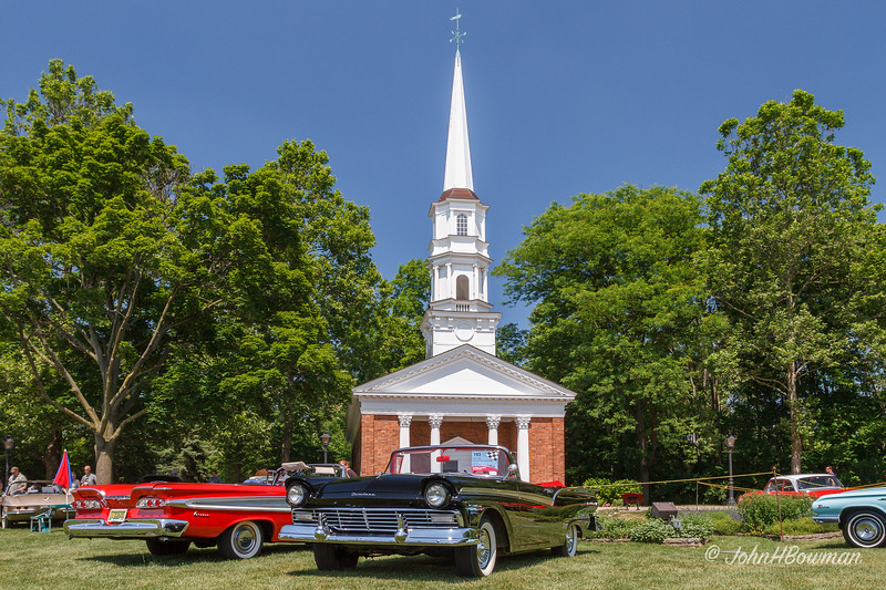 Martha-Mary Chapel, Village Green, 2011 Greenfield Village Motor Muster; one of six non-denominational chapels blt in US by Henry Ford to honor his wife's mother (Martha) and his mother (Mary), blt 1929; 1957 Ford Sunliner convertible in foreground, '59 Edsel beside it
