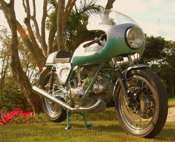 """This 750 """"Green Frame"""" was recently restored by Rich Lambrechts of Motofinesse for a customer and is on it's way to delivery at Daytona Bike Week where it be featured at the DucatiDayDaytona Bike Show on March 9th."""