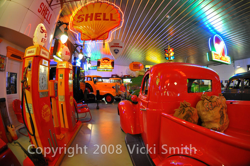 Studebaker pickup and Tokheim 36b gas pumps done up in Shell liverey