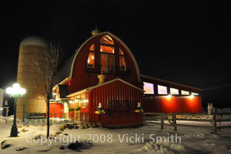 That's the main barn, on this night it's lit like a Christmas tree and absolutely gleaming in the snow