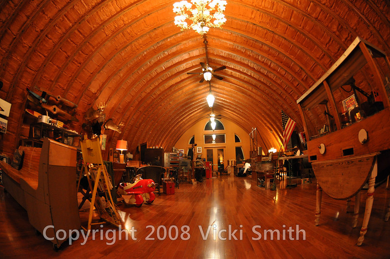 Upstairs is an incredible collection of antiques, highlighted by the barn itself, a rare round roof barn from about 1910
