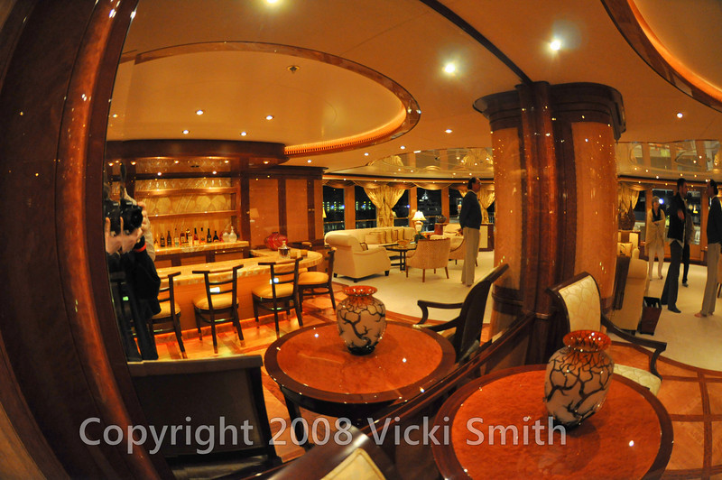 Linda Lou's intricately detailed, rounded interior spaces won the 2007 ShowBoats International Award for best custom interior in a motor yacht