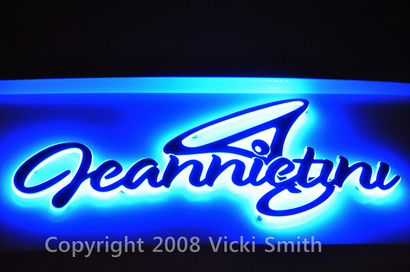 I liked the way this transom was lettered and lit with the boats name