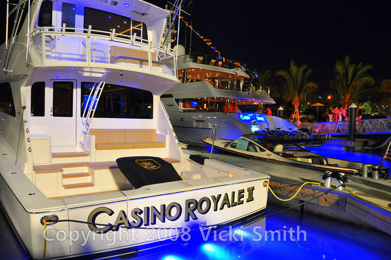 "On the face dock, by the Paella tables and the Satay chicken and swordfish was the Casino Royale, and her ""tenders"""