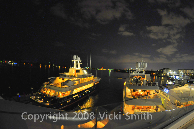 The view from the deck of the outside harbor and the Palm Beach skyline