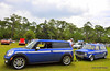 """This pair of matching Mini Clubmans was a crowd favorite. The """"big"""" one is the tow car"""