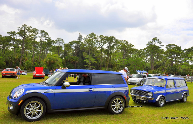 "This pair of matching Mini Clubmans was a crowd favorite. The ""big"" one is the tow car"