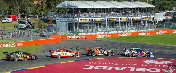 Shane van Gisbergen leading James Courtney, Scott McLaughlin, David Reynolds
