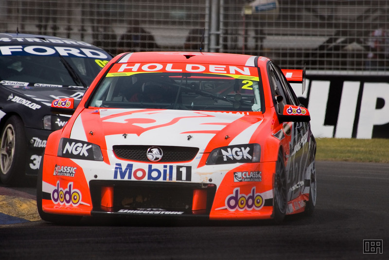 Mark Skaife, of the Holden Racing Team, closely followed by (I think) Paul Radisich, of the Team Kiwi Racing