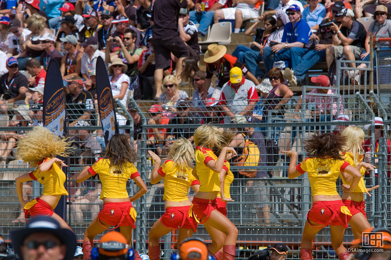 The XXXX Angels performing at the start of the Clipsal 500