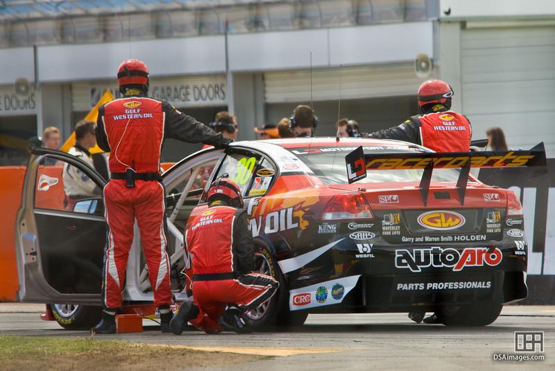 Preparing Daniel Gaunt's, Gulf Western Racing, car