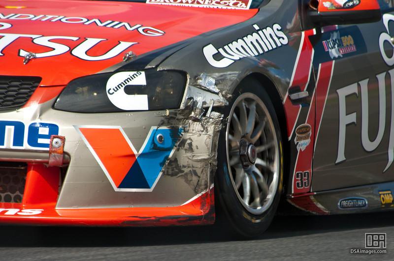 Alexandre Premat of Fujitsu Racing GRM light damage