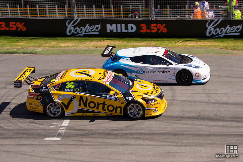 Michael Caruso about to pass the Nissan LEAF Australia NISMO RC