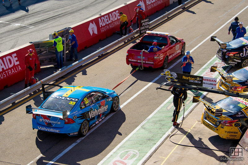 Scott McLaughlin being towed back to the pits after race 3