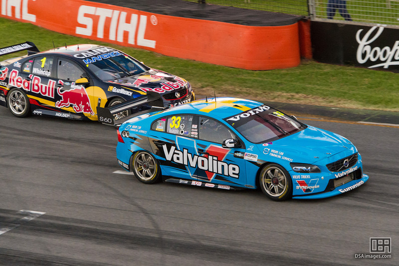 Scott McLaughlin passing Whincup on the last corner to come second in race 2