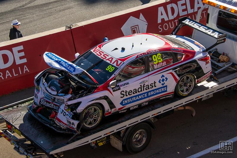James Moffat (Nissan Motorsport) after crashing on the last lap