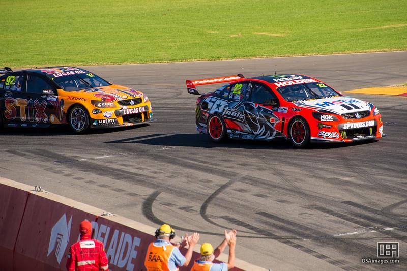 James Courtney (Holden Racing Team) winning race 3 from Shane van Gisbergen (Tekno Autosports)