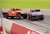 Robby Gordon trying to pass Sheldon Creed in the Stadium Super Trucks
