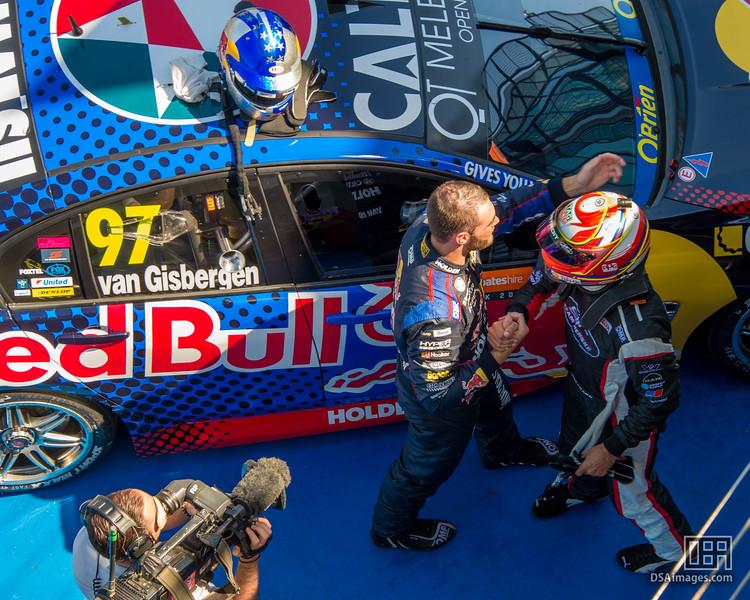 Shane van Gisbergen (Red Bull Racing Australia) being congratulated by Fabian Coulthard (DJR Team Penske)