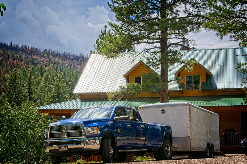 Aaron's Dodge Truck and Trailer in front of the Cabin we stayed in. Near Panguitch Lake, Utah