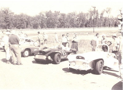 Quantum One (#12HM) and Quantum Two on the grid at Marlboro Motor Raceway, Upper Marlboro, MD. 1961 Richard 'Dick' Nash / Gene 'Gino' Hobbs finished in 22nd place having covered 149 laps in car # 57 Miller / Dodge were not so lucky, only covering 81 laps and was placed 30th overall (probably not running) in car # 12