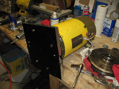 Here is a picture of the aluminum plate mounted to the motor.