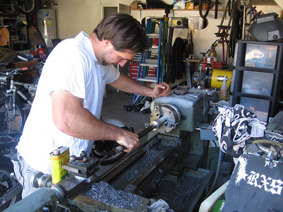 Justin is the man, this project would not be possible if Justin was not involved. Here he is testing the fit of the stainless steel shaft.
