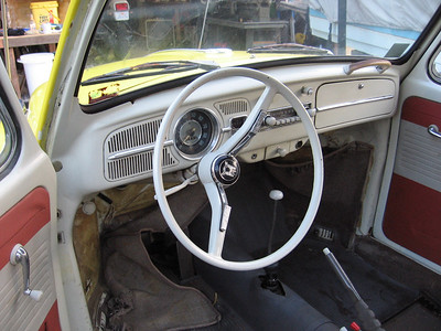 Classic early VW steering wheel. I'm keeping most of the Bug original as possible. I will have to add a few gauges to the dash area.