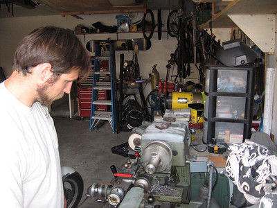 You can see Justin working the lathe.